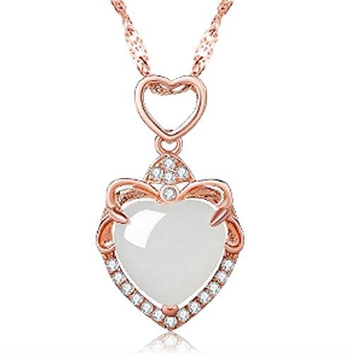 WEIKAI Collar para mujer con colgante de jade blanco en forma de corazón con jade natural en forma de corazón