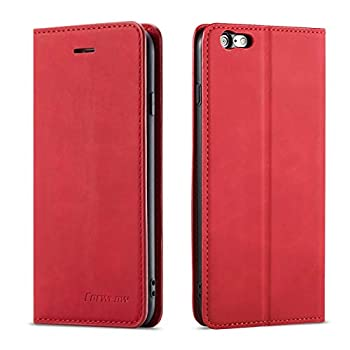 QLTYPRI iPhone 6 Plus 6S Plus Case Premium PU Leather Cover TPU Bumper with Card Holder Kickstand Hidden Magnetic Adsorption Shockproof Flip Wallet Case for iPhone 6 Plus 6S Plus - Red