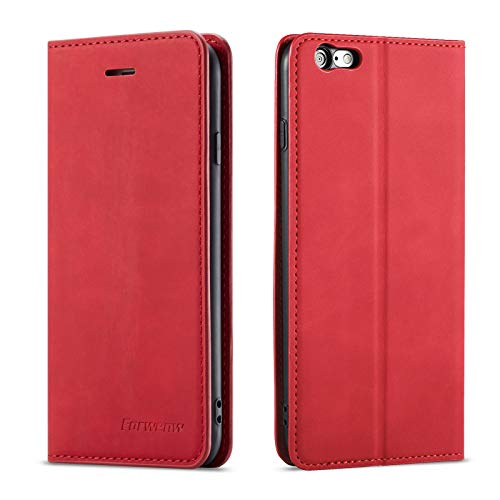 QLTYPRI iPhone 6 iPhone 6S Case, Premium PU Leather Cover TPU Bumper with Card Holder Kickstand Hidden Magnetic Adsorption Shockproof Flip Wallet Case for iPhone 6 iPhone 6S - Red