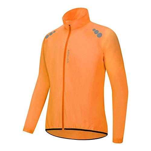 Chaqueta Impermeable de Ciclismo Hombre Chaleco Resistente Al Viento Abrigo Agua Ropa Deportiva Transpirable para Exteriores Protección UV (Orange,XXXL)