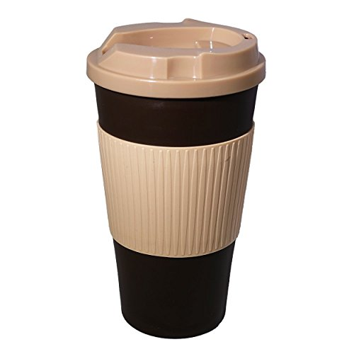 Ruumi Rev-Air Ergonomic, Nose-Accommodating Travel Mug, 16 oz, Cocoa/Tan