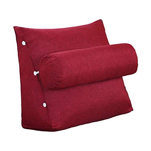 VERCART Rückenkissen Nackenrolle Keilkissen Stützkissen Nackenstützkissen Kopfkissen Groß Kissen Bettkissen Wedge Pillow für Sofa Bett Couch Leinen Rot 60x50x22cm