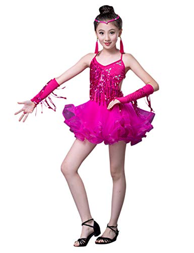 besbomig Mode Quaste Pailletten Salsa Tango Latein Dance Kleid Kinder Wettbewerb Dancewear - Mädchen Ballroom Tanzkleid Partykleider
