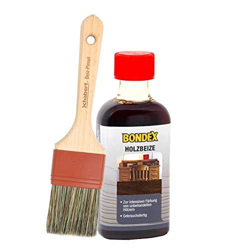Bondex Holzbeize inkl. Beizpinsel, Wasserbeize in 20 Farbtönen zur Auswahl (250 ml, dunkelbraun)