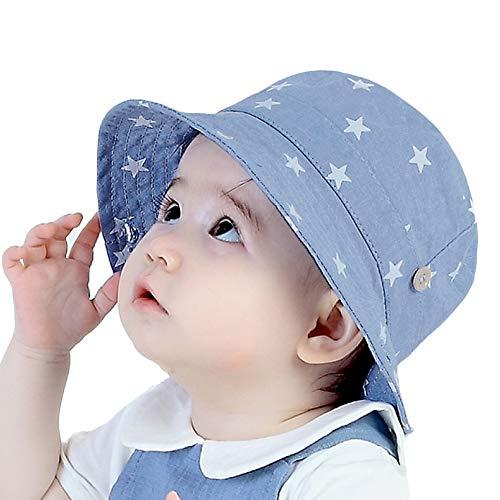 GEMVIE Sonnenhut Baby Junge Sommerhut Kinder Mädchen Fischerhut Jungen Baumwolle UV Schutz Kleinkind Mütze mit Sterndruck