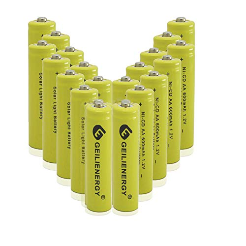 GEILIENERGY Solar Light AA NiCD 600mAh 12V Rechargeable Batteries AA Rechargeable Batteries for Solar Lights Solar LampPack of 20