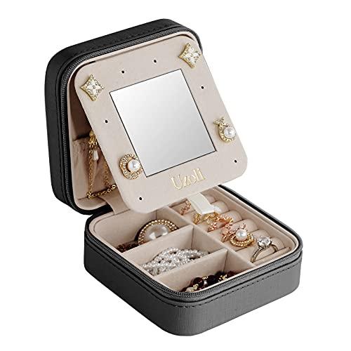 Uzoli Portagioie da viaggio piccolo regalo per donna ragazza porta orecchini anelli gioielli scatole portagioielli - nero