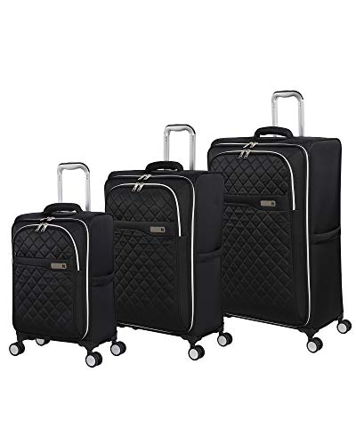 it luggage Admire Softside Lightweight Spinner, Black, 3-Piece Set (22/28/32)