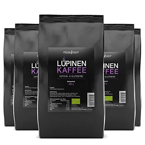 effective nature Lupinenkaffee als Sparpaket - 5x 500g, Der ideale Kaffeeersatz, Koffein- und Glutenfrei, Aus kontrolliertem Bio-Anbau, vollmundiger aromatischer Geschmack