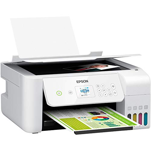 Epson EcoTank ET Series All-in-One Wireless Color Supertank Inkjet Printer - 3-in-1 Print Scan Copy, White