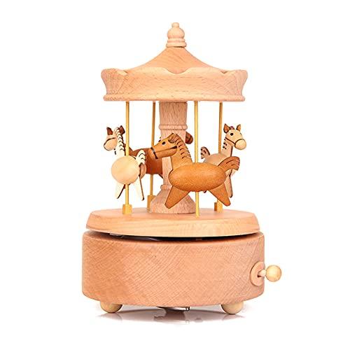 Faithvhk Caja De Música Vintage De Madera, Caja De Música De Caballo De Carrusel Vintage Redonda, Caja De Ocho Tonos De Tiovivo, Hermosas Artesanías De Madera para Decoración del Hogar