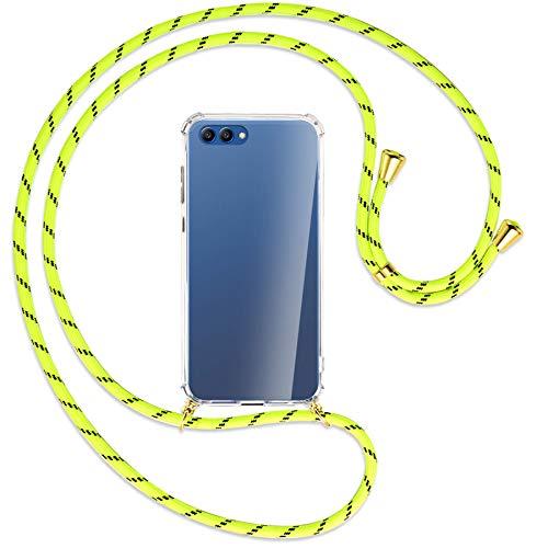 mtb more energy® Collana Smartphone per Honor View 10, Honor V10 (5.99'') - Strisce Giallo Neon/Oro - Custodia indossabile per Collo - Cover a Tracolla con cordina