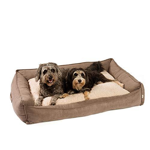JAMAXX PDB2002 - Cama para perros de alta calidad, ortopédica, espuma viscoelástica, lavable, reversible, repelente al agua, cesta para perros, suave terciopelo, 120 x 90 cm, color marrón