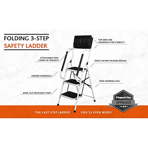 SUPPORT PLUS Folding 3-Step Safety Step Ladder - Padded Side Handrails - Attachable Tool Pouch Caddy