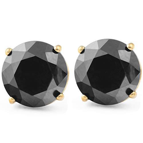 2 Ct Black Diamond Studs 14k Yellow Gold Earrings