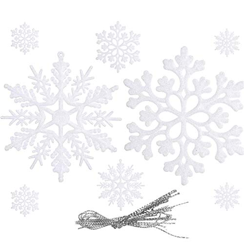 WELLXUNK® Farben Schneeflocken Anhänger Glitter Schneeflocken Deko Plastik Aufhängen Weihnachtsbaum Hängende Ornamente Schneeflocke Weihnachtsbaumschmuck Weihnachtsdeko Fensterdeko (Weiß, 24 Stück)