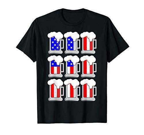 Bier amerikanische Flagge 4. Juli T-Shirt