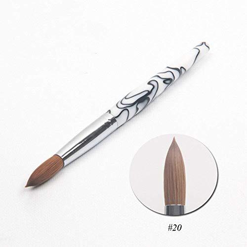 Gran tamaño acrílico uñas arte pincel diseño clásico blanco mármol acrílico mango Kolinsky sable pluma uñas herramienta 20#