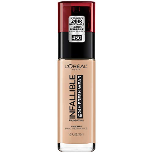 L'Oréal Paris Makeup Infallible up to 24HR Fresh Wear Liquid Longwear Foundation, Lightweight, Breathable, Natural Matte Finish, Medium-Full Coverage, Sweat & Transfer Resistant, Rose Beige, 1 fl. oz.