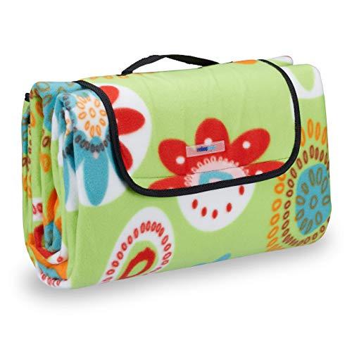Relaxdays Picknickdecke XXL, 200 x 200 cm, wärmeisoliert, Faltbare Stranddecke, wasserdicht, mit Tragegriff, hellgrün