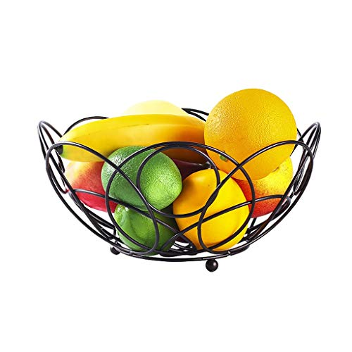 JPVGIA Piatti di Frutta Cesto di Frutta in Pizzo in Ferro battuto Snack di Frutta e Verdura Creativo Soggiorno Cesto portaoggetti Moderno Piatto di Frutta Minimalista Moderno (Color : Black)