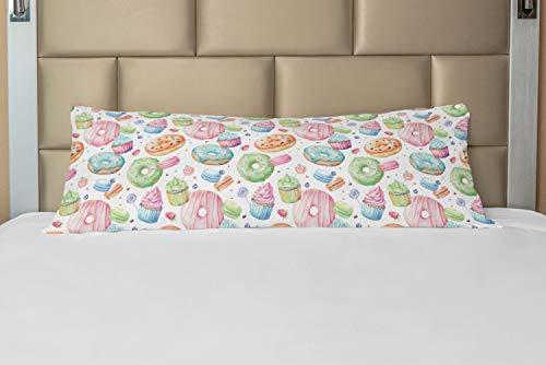 ABAKUHAUS Dessert Taie de Traversin avec Fermeture à Glissière, Fouetté Creamed Muffin, Taie d'oreiller Longue Décorative, 53 x 137 cm, Multicolore