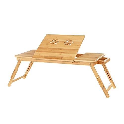 SONGMICS Mesa para Ordenador Portátil, para Uso con Mano Izquierda o Derecha, Soporte de Regazo de Bambú, 72 x 35 x (21-29) cm LLD004