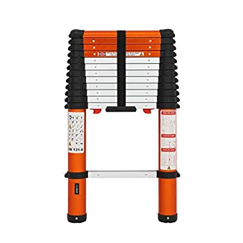 Luisladders Aluminum Telescoping Ladder Telescopic Extension Ladder 330 Pound Capacity One-Button Retraction  12.5 FT
