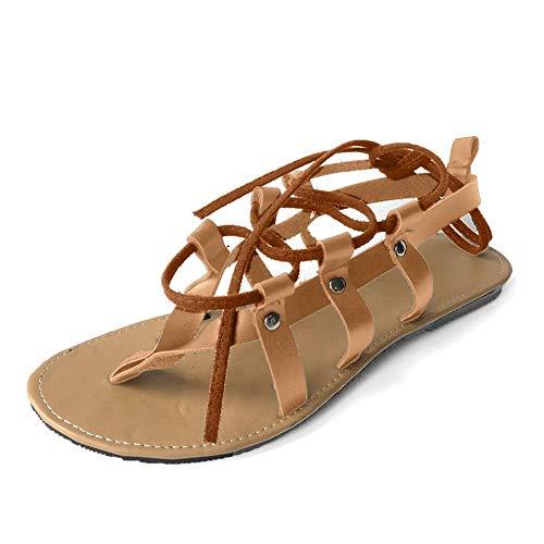 profesional ranking VJGOAL Moda Mujer Sandalias con tiras cruzadas en el tobillo Zapatos planos romanos Playa Punta abierta … elección