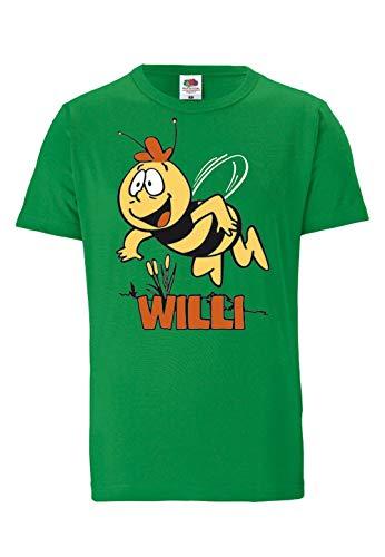 Fruit of the Loom - Die Biene Maja - Willi Fliegend - Easyfit T-Shirt - grün - Lizenziertes Originaldesign, Größe L