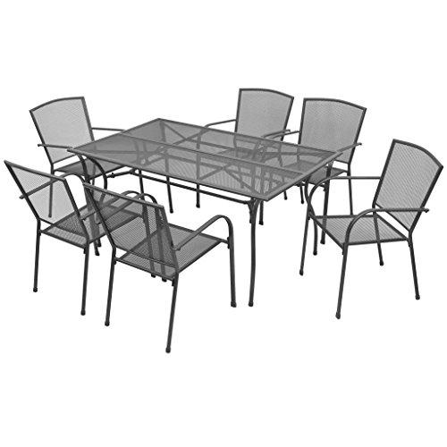 Festnight Set Tavolo Quadrato/Rettangolare e 2/4/6/8 Sedie con Schienale e Braccioli da Giardino Esterno in Metallo Acciaio,Set da Tavolo e Sedie da Prazno da Giardino Esterno in Acciaio