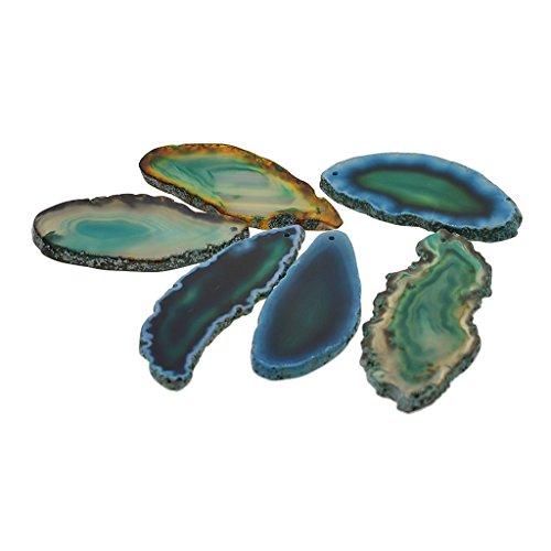 Homyl 6er Pack Natürliche Achatscheiben Achat Scheiben Edelstein Platte Mineralien Achate für Schmuckherstellung Dekoration Steine - Grün