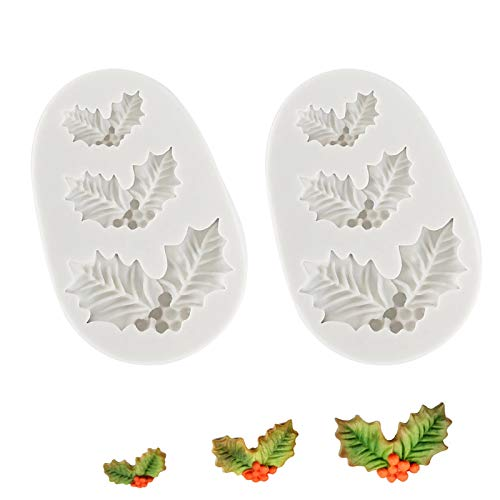 2 Pieces Christmas Holly Leaves Silicone Mold Leaf Shaped Fondant Mold Chocolate Dessert Molds for Baking Chocolate Candy Sugar Cake Decorations