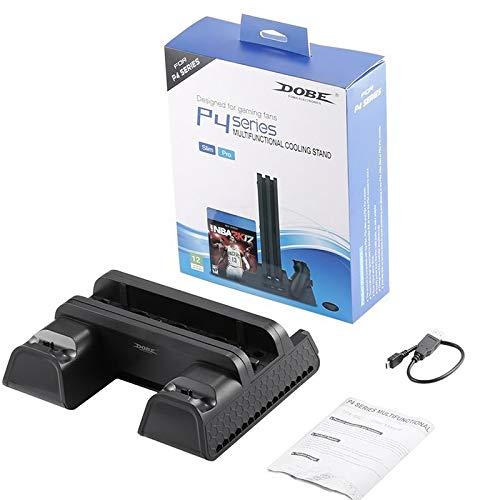 Wiouy Vertikaler Ständer mit Lüfter und Dual-Controller, Ladestation für PS4/PS4 Slim/PS4 Pro