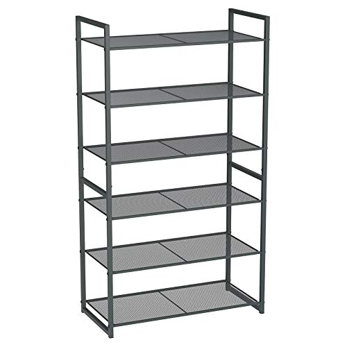 SONGMICS 6-Tier Shoe Rack, Stackable Shoe Organizer, 18-24 Pairs of Shoes, Metal Shoe Rack Storage, 24.8 x 11.8 x 44.1 Inches, Smoky Gray ULMR86GC