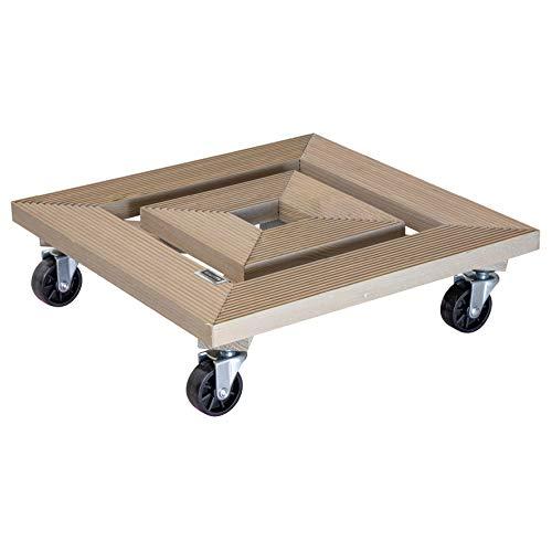 WAGNER Chariot de Plantes Frame 35 x 35 x 10 cm | Porte Plante pour l'intérieur + l'extérieur | en Bois Massif ondulé, certifié FSC®, Taupe | Capacité de Charge 150 kg | Made in EU - 20034101