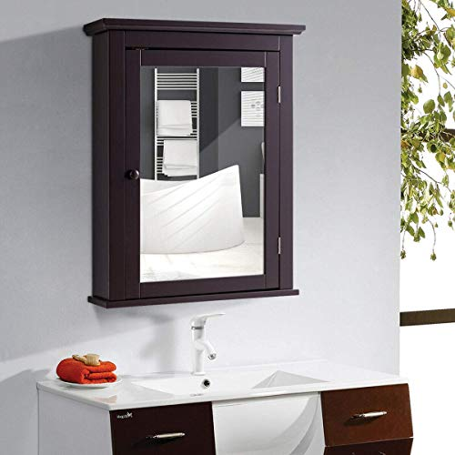 Casart Bathroom Mirrored Wall-Mounted Cabinet, Multipurpose Storage Medicine Cabinet with Single Door -