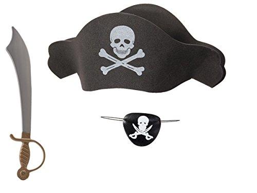 Kit de déguisement pirate (KV-67), ensemble de 3 accessoires: Chapeau + Bandeau de pirate + Épée en plastique Parfait pour les fêtes, les costumes d'Halloween