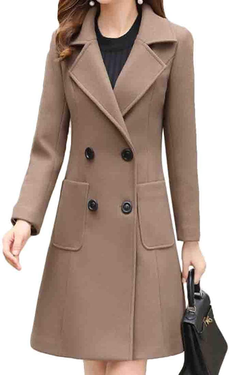 JXG Women Elegant Overcoat Double Breasted Cashmere MidLong Thick Outerwear