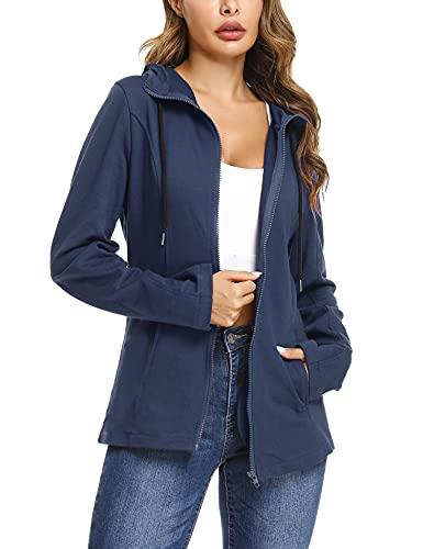 Aibrou Femme Sweat à Capuche avec Poches Cotton Hoodies Zippé Sweatshirt Manches Longues Veste Casual Grande Taille Printemps Automne Bleu Gris XL
