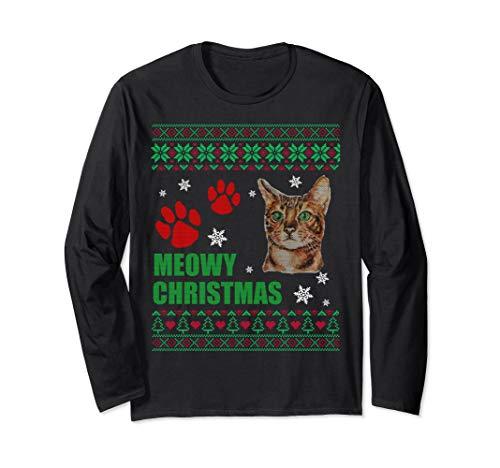 Meowy Bengal Cat Merry Christmas Bengal Cats Long Sleeve T-Shirt