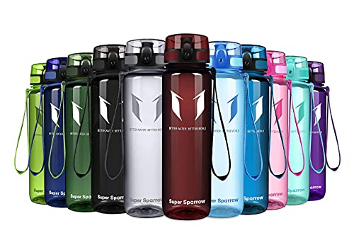 Super Sparrow Trinkflasche - Tritan Wasserflasche - 1000ml - BPA-frei - Ideale Sportflasche - Schnelle Wasserdurchfluss, Flip Top, öffnet Sich mit 1-Click (Glossy-Imperial Red, 1000ml-32oz)