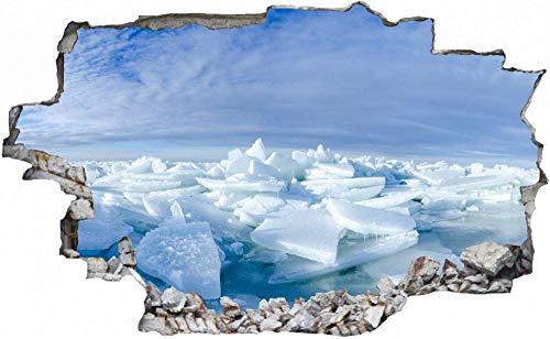 Tatuaje de pared en 3D agujero de la pared Sticker Pegatina Adhesivo Calcomanía Decoración para dormitorio o la sala de estar,Polo Norte Alaska Témpano de hielo 80x120cm
