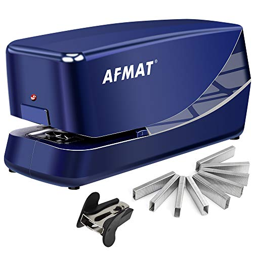 Electric Stapler, Heavy Duty Electric Stapler Desktop, 25 Sheets, AC or Battery Powered Automatic Stapler with 1000 Staples, with Reload Reminder & Release Button, Blue