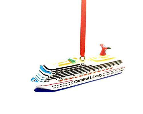 PSVGROUP Polyresin Cruise Ship Model Ornament for Christmas Tree, Cake Topper, a Great Gift or for sea Lovers or Toy for Kids Small, Liberty Cruise Blue