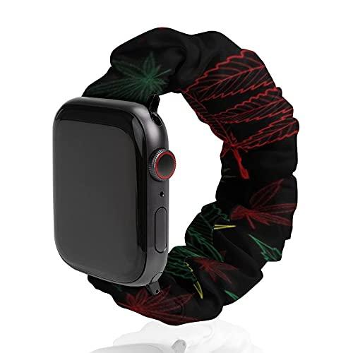 Correa de repuesto para hombre y mujer, compatible con Apple Watch de 42 mm/44 mm, suave y elástica para iWatch Series SE 6/5/4/3/2/1, marihuana cannabis