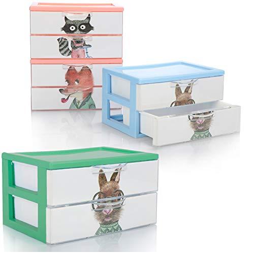 COM-FOUR® 4x ladekast, plastic opbergdoos voor kinderspeelgoed, handwerk, make-up, pennen - praktische sorteerbox [selectie varieert] (04x dozen 2 vakken 18x13x10)