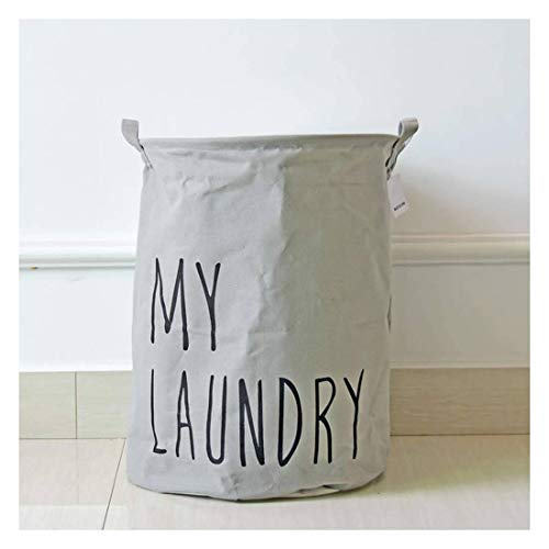 JHLD Collapsible Laundry Hamper, Nordic Style Cotton Linen Laundry Basket High Capacity Laundry Hamper Waterproof Drawstring Storage Basket For Dirty Clothes Toy-gray-35×45CM