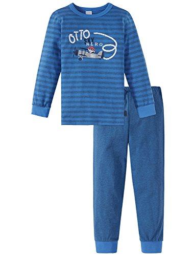 Schiesser Jungen Kn lang Zweiteiliger Schlafanzug, Blau (Blau 800), 116