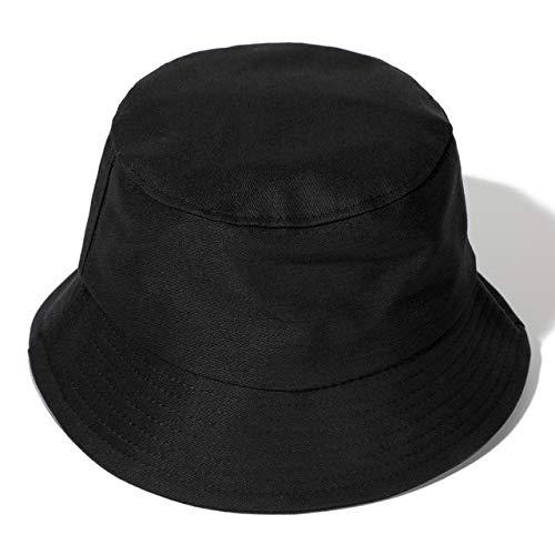 Sombrero de Verano, Sombrero deCubo de Pato Reversible para Hombres, Mujeres, Moda de algodón, niños tristes, Sombrero de Sol Plegable para niñas, Sombrero de Pescador de Playa-Black
